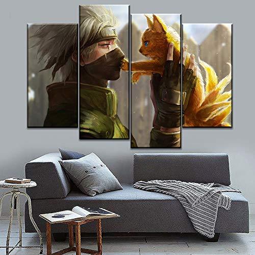 Aehoor Novel Bilder Art 4 Teile Naruto Leinwand Wandkunst Bild HD Anime Druck Deko Zuhause Dekorationen Bar Vlies Wall Wandbilder Wohnzimmer Kunstdrucke Poster Modern 20x40x2/20x60x2 Frameless