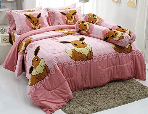 Eevee Pink Bed Sheet Set, 1 Fitted Sheet, 2 Pillow Case, 2 Bolster Case...