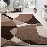 Paco Home Alfombra De Diseño Moderna Estampado Geométrico Contorneada Marrón Crema Beige, tamaño:200x290 cm