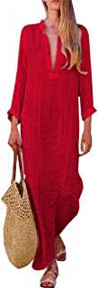 Women'S Fashion Printed Long Sleeve V-Neck Silky Vintage Elegant Maxi Dress Split Hem Baggy Kaftan Long Dress