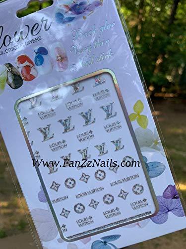 Nail4Lux 3D Nail Stickers/Nail wrap/Nail Art/Nail Foil/Luxury Nail Decal DIY • LVAllColors (Silver)