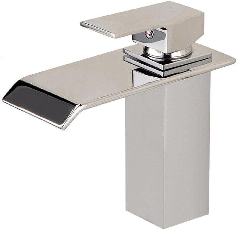 SHIQUNC Waterfall Chrome Basin Mixer Tap Monobloc Bathroom Sink Faucet