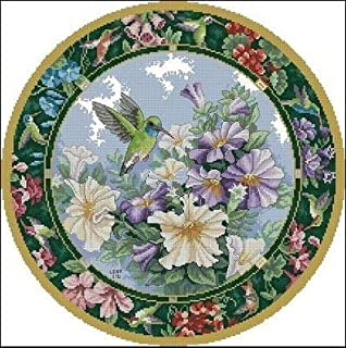 Zamtac Top Quality Lovely Cute Counted Cross Stitch Kit Sweet Nectar Hummingbird and Flowers dim 35011 - (Cross Stitch Fabric CT Number: 16CT unprint Canvas)