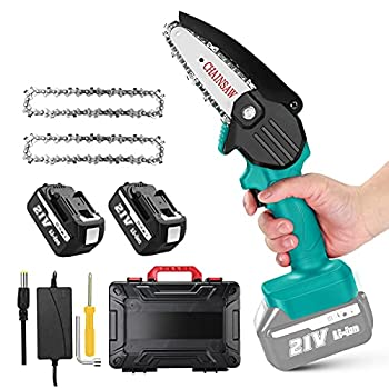 Mini Cordless Chainsaw Electric Seesii Electric Pruning Saw Portable Pruning Shears Saw with Extral Backup Rechargeable Lithium Battery Powered Tree Branch Pruner Wood Cutting Garden Tool