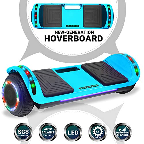 Beston Sports Newest Generation Electric Hoverboard Dual Motors Two Wheels Hoover Board Smart self Balancing Scooter with Built in Speaker LED Lights for Adults Kids Gift (Chrome Blue)