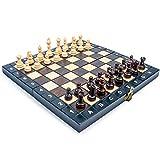 Amazinggirl Schachspiel Schach Schachbrett Holz hochwertig - Chess Board Set klappbar mit Schachfiguren groß für Kinder und Erwachsene 26 x 26 cm - 7