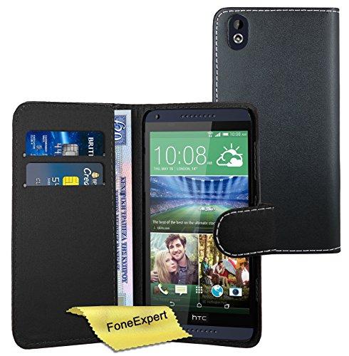 FoneExpert® Wallet Hülle Flip Cover Hüllen Etui Ledertasche Lederhülle Premium Schutzhülle für HTC Desire 816 + Bildschirmschutzfolie (Schwarz)