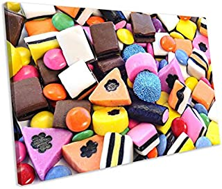 Unframe Canvas Printing Wall Decor Liquorice Allsorts Sweets Candy Kitchen Food & Drink Framed Canvas Print Wall Art Wall Decoration for Living Room/Bed Room