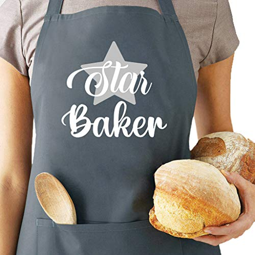 Saukore Funny Baking Aprons for Women and Men, Star Baker Apron Gift for Bakers, Cute Kitchen Cooking Aprons with 2 Pockets - Birthday Gifts for Wife Husband Mum Dad