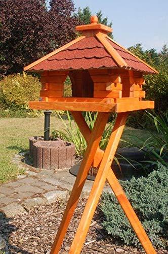 Deko-Shop-Hannusch XXL Futterhaus Vogelhaus mit Bitumenschindeln versch. Dachfarben mit Vogelhausständer V20, Variante:V20 bitum rot XXL m.St.