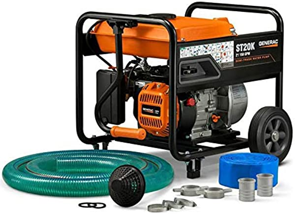 Generac 6822 Semi Trash Water Pump 5 HP 2 Inch With Accessory Kit