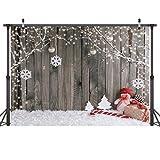 LYWYGG 7X5FT Fondo de Fotografía de Navidad Tablero de Madera Marrón Vintage Fondo de Navidad Fondo de Muñeco de Nieve Nevando Fondo de Fotografía de Pared de Madera de Niños de Navidad CP-70