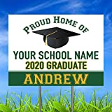 Congratulations Class of 2020 Graduate Personalized Yard Sign with Metal Stake, Custom Graduation Party Personalized Lawn Sign
