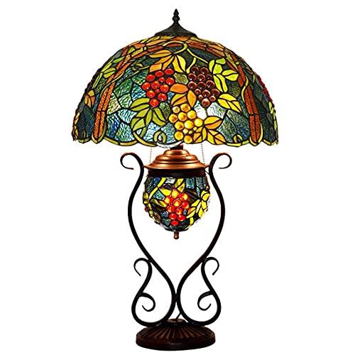 DALUXE Lámpara de Escritorio de Estilo Tiffany con luz Nocturna, lámpara de vidrieras con decoración de Cuentas de Cristal, Sala de Estar, Dormitorio