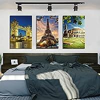 エッフェル塔タワーブリッジコロッセオ有名な建築観光名所風景画寝室の装飾のためのキャンバス絵画| 40x60cmx3フレームなし