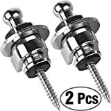 Eison Guitar Strap Locks and Buttons Security Quick Release Straplocks Strap Retainer System Nickel (2 Pieces Pack) (Silver)