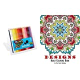 Adult Coloring Book: Designs and Prismacolor Scholar Colored Pencils, Set of 48 Assorted Colors