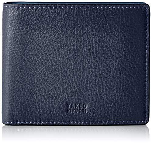 [タケオキクチ] 財布 メンズ 二つ折り BOX型 小銭入れ付 イタリアレザー 本革 コンビカラー ヴィーブ ネイビー/ブルー