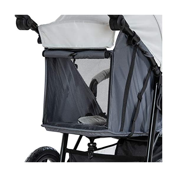 Hauck Runner, Jogger Style, 3-Wheeler, Pushchair with Extra Large Air Wheels, Foldable Buggy, For Children from Birth to 25kg, Lying Position - Silver Grey Hauck LONG USE - This 3-wheel pushchair is suitable from birth (in lying position or in combination with the 2in1 Carrycot) and can be loaded up to 25kg (seat unit 22 kg + basket 3 kg) ALL-TERRAIN - Thanks to the big air wheels - back 39cm diameter, front 30 diameter – as well to the swiveling and lockable front wheel, this jogger style pushchair can be used on almost any terrain COMFORTABLE - Thanks to adjustable backrest and footrest, sun canopy, large shopping basket, and height-adjustable push handle 22