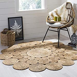 Safavieh Natural Fiber Round Collection NF363A Handmade Boho Charm Farmhouse Jute Area Rug, 4′ x 4′ Round, Natural