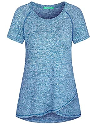 Kimmery Moisture Wicking Shirts Women, Breathable Comfy Cool Exercise Top Short Sleeve Heather Basketball Baseball Training Lightweight Sports Wear Feminine Silhouette Summer Clothes Blue X Large