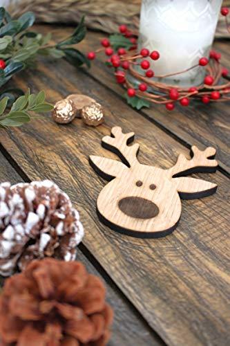 VKF Renzel Reindeer Coaster Set Wooden Deer Face Rudolph Christmas Drinks Mats Festive Animal Coasters - Pack of 4