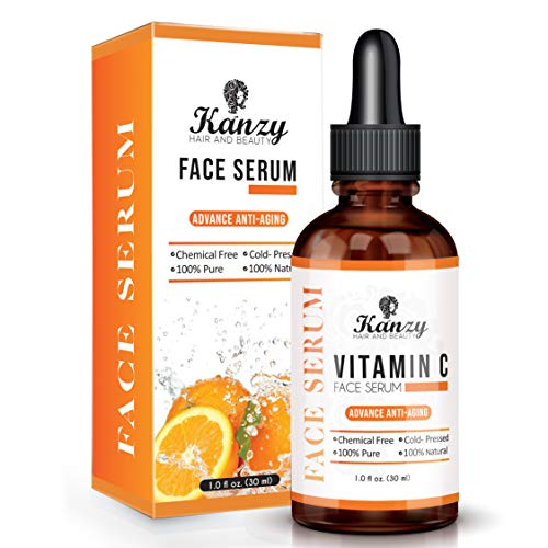 KANZY Vitamin C Face Serum with 20% Hyaluronic Acid for Acne Scars, Anti-Aging, Anti-Wrinkle, Dark circles & Fine Lines – Boost Skin Collagen, Best Moisturizer for Skin 30ML