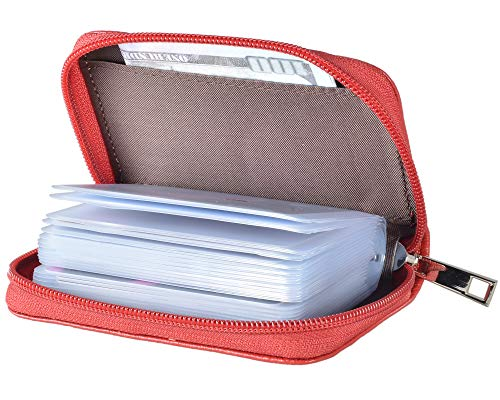 Easyoulife Genuine Leather Credit Card Holder Zipper Wallet With 26 Card Slots (Red)
