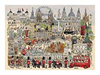 ジグソーパズル 漫画ジグソーパズルロンドンマップ1000ピース面白い木製パズル、家族の装飾、ティーンエイジャーと大人に適したユニークな誕生日プレゼントチャレンジ BBJOZ