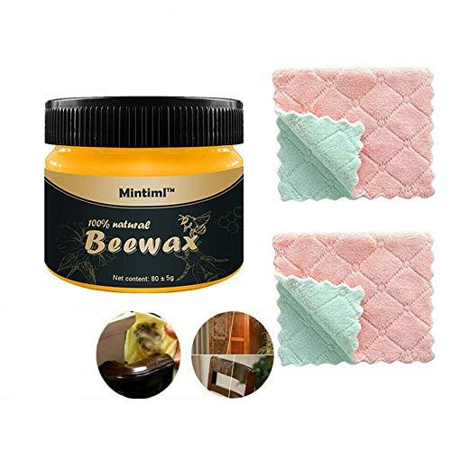 Beewax per condimento del legno, cera d'api tradizionale naturale 2020, cera d'api naturale per pulizia e lucidatura, multiuso naturale Beewax per mobili da abbellire e proteggere (2 panni inclusi)