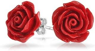 3D Carved Rose Flower Stud Earrings For Women For Teen More Colors