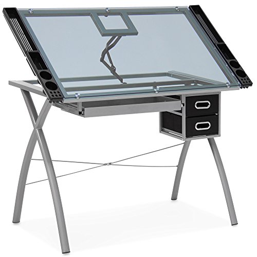 Best Choice Products Modern Adjustable Drafting Table w/Drawers, Glass Top, and Removable Side Trays - Silver