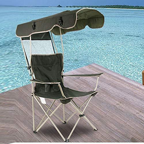 WXK Outdoor-Reisen Angeln Strandkorb, Aluminium Multifunktionsfalten Sonnenschutz beweglicher im Freien Strand-Stuhl, Geeignet for Tourismus Camping Angeln (Color : Dark Green)