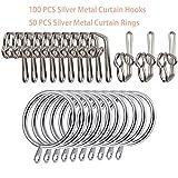 50 x Silver Nickel Metal Curtain Rod Rings Rail Pole Hanging Hook Loops Drapery