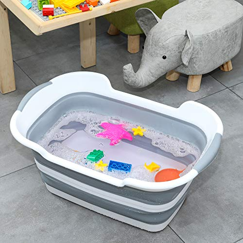 TOLEAD Collapsible Small Pets Bath Tub with Drainage Hole, Washing Tub, Multifunctional Laundry Basket or Storage Organizer, Portable Wash Basin, 2020 New