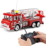 10' R/C Rescue Fire Engine Truck Remote Control Kids Toy with Extending Ladder & Lights