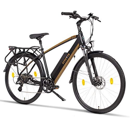 Fitifito CT28M, 28 Zoll Elektrofahrrad Citybike E-Bike Pedelec, 48V 250W SY Heckmotor, 8 Gang Shimano Schaltung, Schwarz Gold