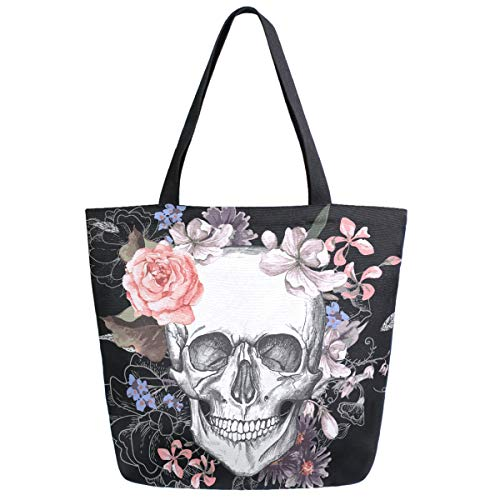ZzWwR Skull and Flowers Day of The Dead Extra Large Canvas Market Beach Travel Reusable Grocery Shopping Tote Bag Portable Storage HandBags