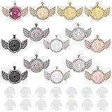NBEADS 34 bandejas colgantes con bisel de diamantes de imitación con cabujones de cristal y alas colgantes para manualidades, joyería, manualidades, suministros