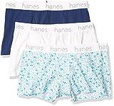 Hanes Ultimate Women's Comfort Flex Stretch Boyfriend Classic Boxer Brief 3-Pack, White/Print/Navy Eclipse, Large