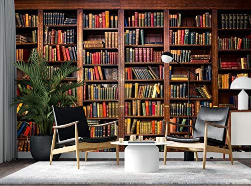 Papel pintado murales libros sobre estantes en biblioteca, papel pintado para pared, decoración de pared, papel gigante, diseño clásico de madera oscura
