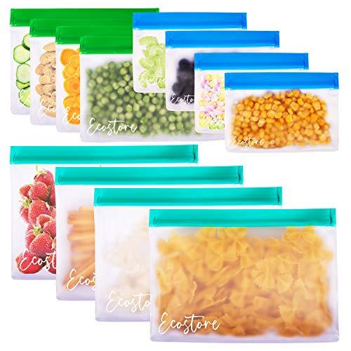 ECOSTORE 12 Pack Wiederverwendbare umweltfreundliche Lebensmittel Sandwich Snack Aufbewahrung Kompakt Stand Up Mehrzweckbeutel Recycelbarer Gefrierschrank Reisemahlzeit-Zubereitungsset BPA KOSTENLOS