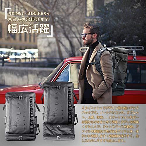 PEYNEリュックメンズリュックサックバックパック-3層式拡張機能大容量スクエアスクエアリュック,靴/弁当収納スクエアバックパック,防水キャンバスリュック,A4収納多ポケットUSBポート付き15.6インチPCビジネスリュック,45Loutdoor通勤修学旅行学生ブラックバッグ,黒スクエアリュック