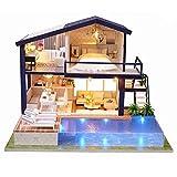 Casa de muñecas en miniatura de Diy, casa de muñecas en 3D, de madera, modelo de casa montada, con luces LED, minipiscina, kit de construcción, regalo de cumpleaños para jóvenes y adultos