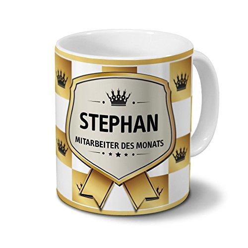printplanet Tasse mit Namen Stephan - Motiv Mitarbeiter des Monats - Namenstasse, Kaffeebecher, Mug, Becher, Kaffeetasse - Farbe Weiß