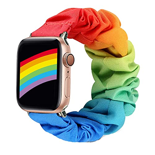 Magwei Scrunchie Elastic Watch Band Compatible with Apple Watch 38mm/40mm 42mm/44mm,Elastic Wristband Replacement Compatible for iWatch Series 6/5/4/3/2/1 Apple Watch SE (Rainbow, 38mm/40mm)