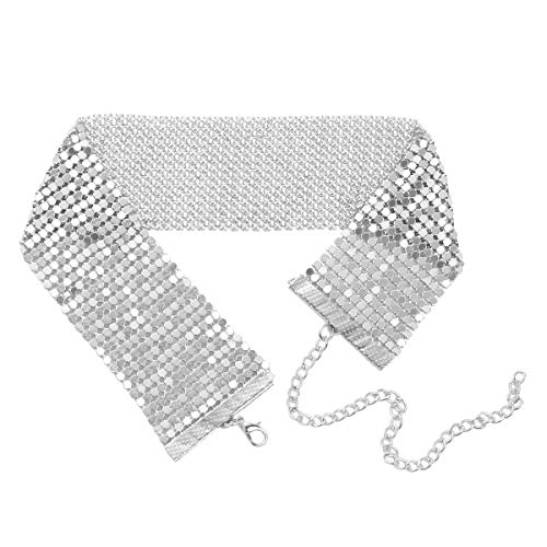 MSemis elegant Damen Choker Glänzend Halsband Halskette Breit Einstellbar Bänder Gurt Abendkleid Cocktailkleid Zubehöre Silber Einheitsgröße
