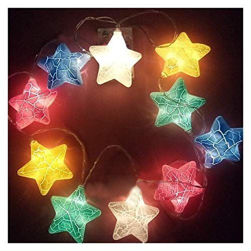 BMWY Beautifully Decorated Led Star String Lamp, Warm White Crack Pattern, Decorative Lamp String, Battery Power, Curtain Lamp, Family Bedroom Decoration Perfect