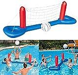 MUANSER Jeu de Volley-Ball Gonflable pour Piscine avec Filet réglable et 2 balles, Jouet de Piscine de fête Aquatique d'été pour Adultes et Enfants