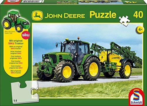 Schmidt Spiele 55625 John Deere, 6630 mit Feldspritze, 40 Teile Puzzle, mit Siku Traktor
